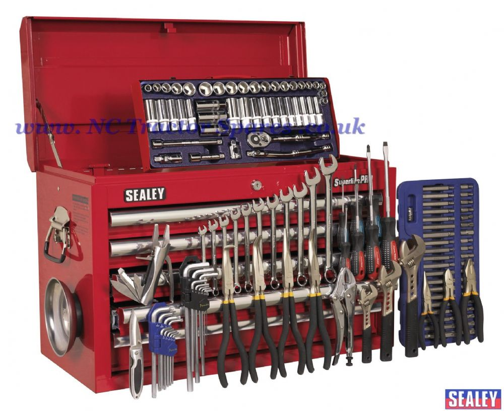 Topchest 5 Drawer with Ball Bearing Runners - Red & 137pc Tool Kit